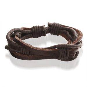 Wodium, bruine lederen armband - Montebello juwelen-0