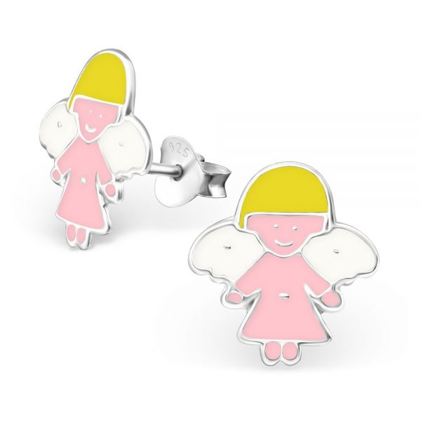 Princes Oorbellen Angel Pink - Meisjes - 925 Zilver - Epoxy - Engel - 10 x 10 mm-0