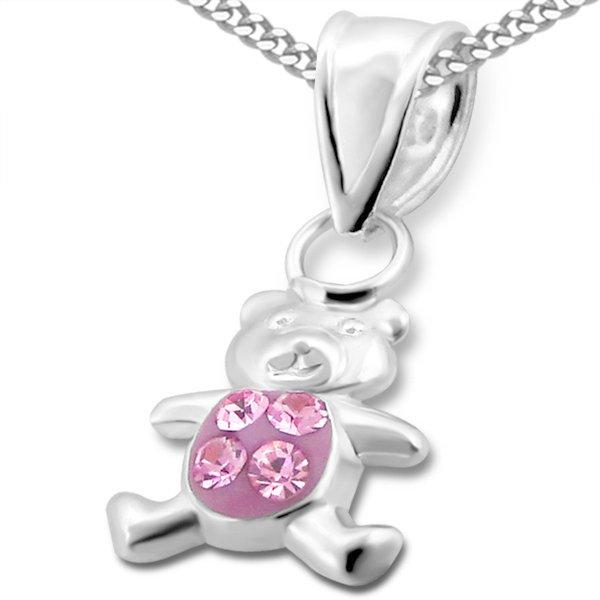 Princess Ketting Bear Pink - Meisjes - 925 Zilver - Zirkonia - Beer - 8 x 9 mm - 38 cm-0