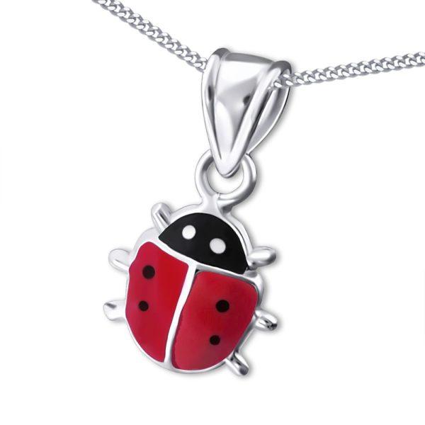 Princess Ketting Ladybug - Meisjes - 925 Zilver - Epoxy - 9x10 mm - 38 cm-0