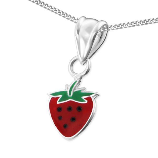 Princess Ketting Strawberry- Meisjes - 925 Zilver E-Coating - Aardbei - 7x8mm - 38cm-0