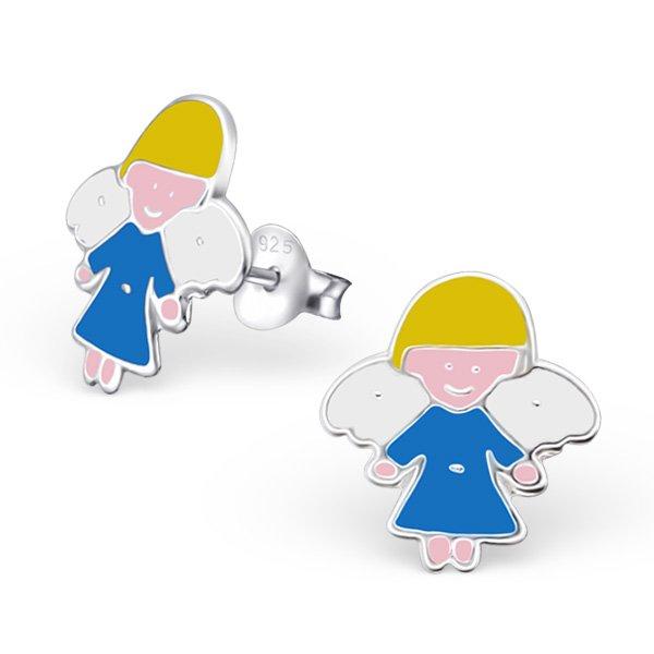 Princes Oorbellen Angel Blue - Meisjes - 925 Zilver - Epoxy - Engel - 10 x 10 mm-0