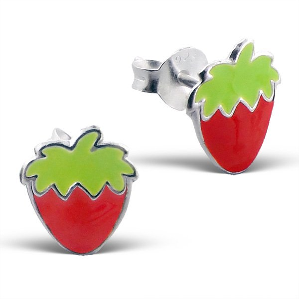 Princess Oorbellen Strawberry - Meisjes - 925 Zilver E-Coating - Aardbei - 7x10mm-0