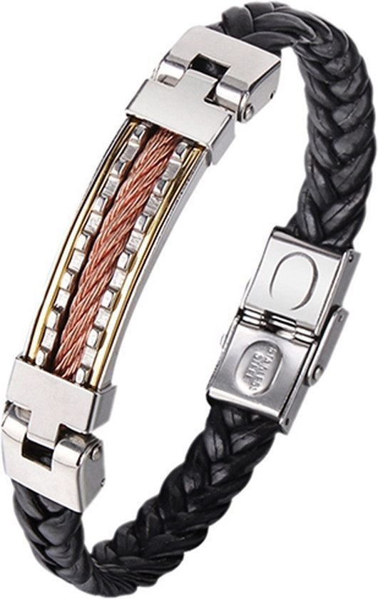 Montebello Armband Benzing - Heren - 316L Staal - Leer - 11 mm - 20 cm-0