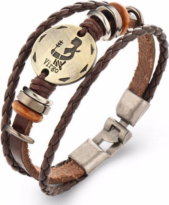 Montebello Armband Maagd - Unisex - Leer - Metaal - Horoscoop - 22 cm-0