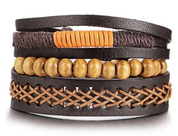 Montebello Armbanden Wardia - Leer - Touw - Kralen - 4-delig - ∅19-23cm-0