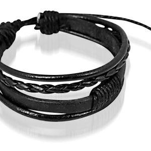 Montebello Armband Woodsia Black - Heren - Leer - 20 - 23 cm-0