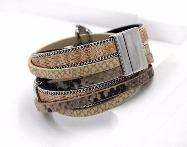 Montebello Armband Amani - Dames - PU Leer - Zirkonia - 38 cm-0