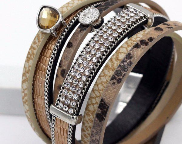 Montebello Armband Amani - Dames - PU Leer - Zirkonia - 38 cm-8783