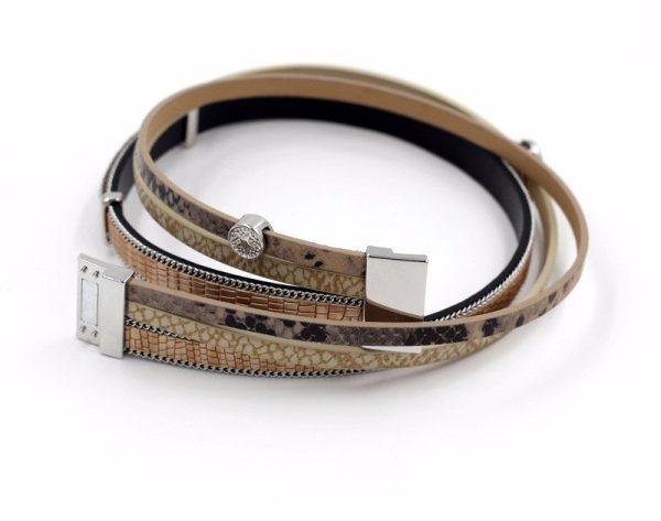 Montebello Armband Amani - Dames - PU Leer - Zirkonia - 38 cm-8784