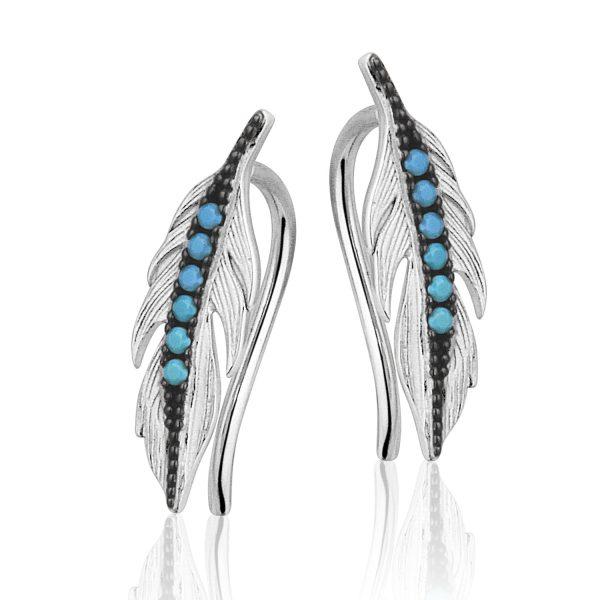 Montebello Oorbellen Dimas Blue - 925 Zilver Gerhodineerd - Veer - 5x15mm-0