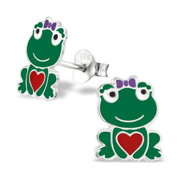 Princess Oorbellen Frog Lady - Meisjes - 925 Zilver - Epoxy - Kikker - 9 x 10 mm-0