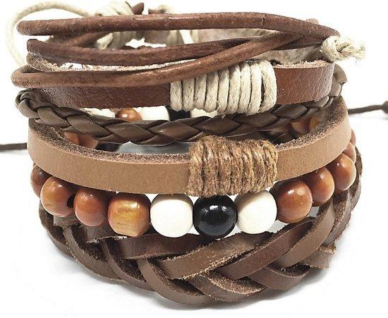 Montebello Armbanden Alrawia - Heren - Leer-Kralen-Touw - 20-23cm-0