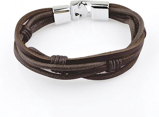 Montebello Armband Baphia - Leer - Metaal - 10mm - 20cm-0
