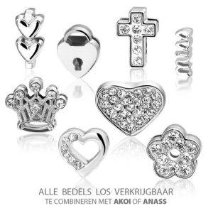 Bedel Hart, metalen bedel voor een armband - Montebello juwelen-9038