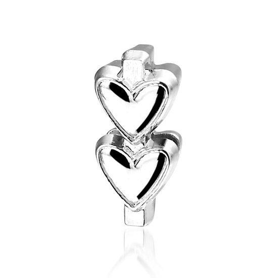 Bedel Dubbel Hart, metalen bedel voor een armband - Montebello juwelen-0