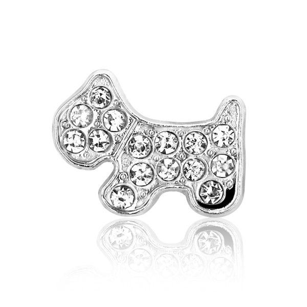 Montebello Bedel Hond - Dames - Metaal/Messing - Kristal - 15 x 20 mm-0