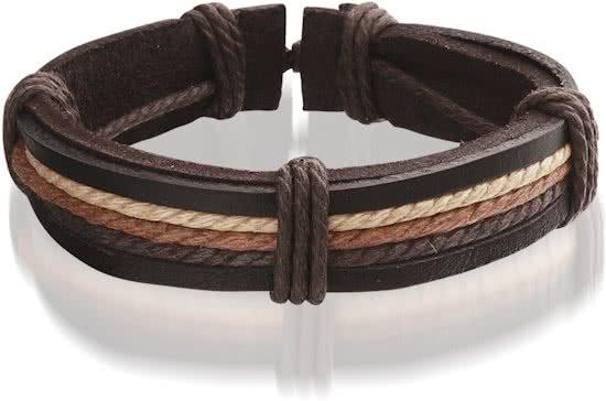 Montebello Armband Adoxa - Unisex - Leer - Bruin - ∅20 - 23 cm-0