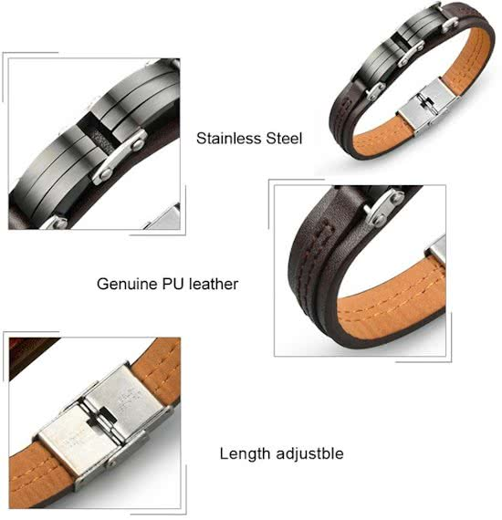 Montebello Armband Abroma - Unisex - 316L Staal - PU Leer - 12mm - 20.5cm-9256