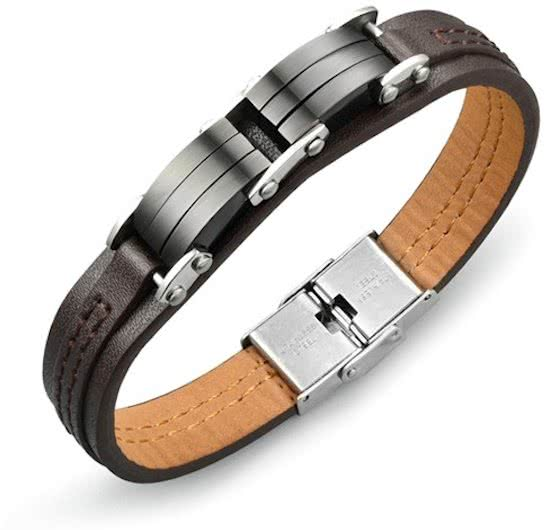 Montebello Armband Abroma - Unisex - 316L Staal - PU Leer - 12mm - 20.5cm-0