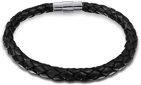Montebello Armband Aisha - Heren - 316L Staal - Leer - ∅6mm - 22cm -0
