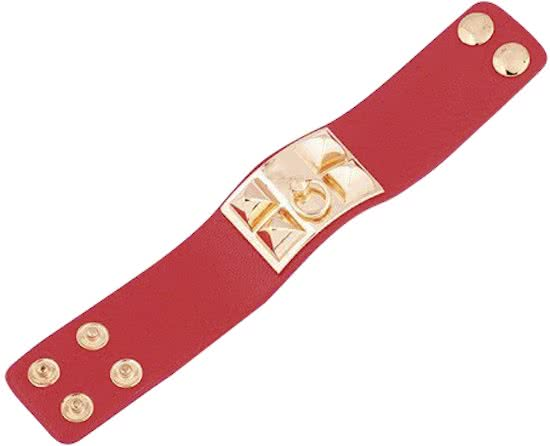 Montebello Armband Yaayoo Red - Dames - Leer - Staal - Studs - 33 x 225 mm-9501