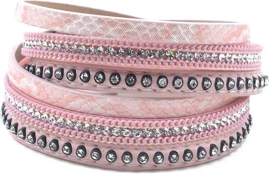 Montebello Armband Bartsia Pink - Dames - PU Leer - Zirkonia - 39 cm-0