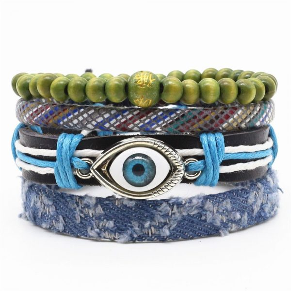 Montebello Armbanden Gia - Unisex - Leer - Touw - 4-delig - ∅20 - 23 cm-0