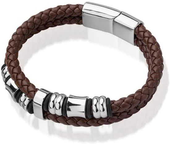 Montebello Armband Skabal Brown - Unisex - Staal - Leer - ∅21 cm-0