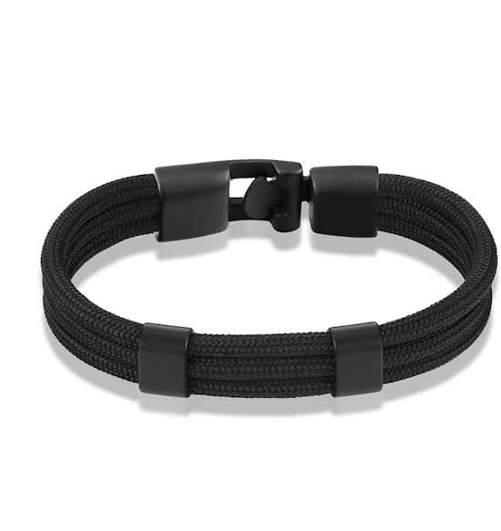 Montebello Armband Surf Black - Touw - 316L Staal - 20.5cm-0