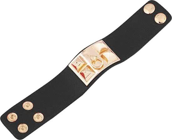 Montebello Armband Yaayoo Black - Dames - Leer - Staal - Studs - 33 x 225 mm-9491