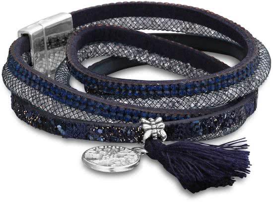 Montebello Armband Rani B - Dames - PU Leer - Zirkonia - Bedels - 39cm-0