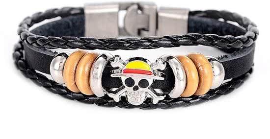 Montebello Armband Pirate - Unisex - Leer - Bedel - Doodskop - 20 cm-0