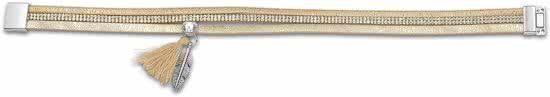 Montebello Wikkelarmband Rani Gold - Dames - PU Leer - Zirkonia - Bedels - 39 cm-9919