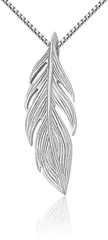 Montebello Ketting Beno - Dames - Zilver Gerh. - Veer - 25x8mm - 45cm-0