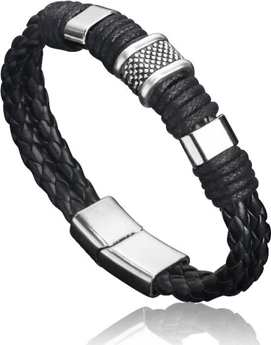 Montebello Armband Arban Black - Heren - Leer - Metaal - 22.5 cm-0