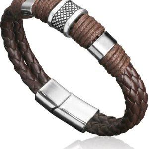 Montebello Armband Arban Brown - Heren - Leer - Metaal - 22.5 cm-0