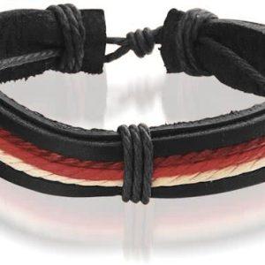 Montebello Armband Acis Red - Unisex - Leer - ∅20 - 23 cm-0