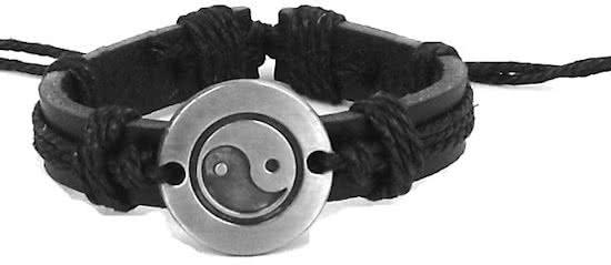 Montebello Armband Tai Chi - Unisex - Leer - Metaal - Hennep - ∅20 - 23 cm-0