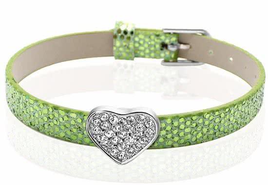 Montebello Armband Akoi GrB - Dames - PU leer - Bedel - Hart - Zirkonia - 20.5 cm-0