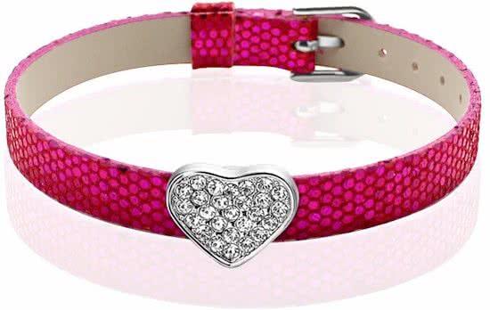 Montebello Armband Akoi FRB - Dames - PU leer - Bedel - Hart - Zirkonia - 20.5 cm-0