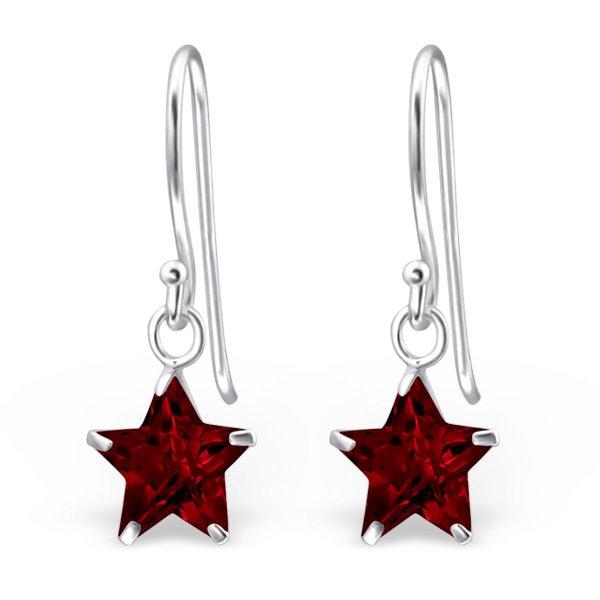 Montebello Oorbellen Ada Red – Dames – 925 Zilver – Zirkonia – Ster - ∅8 mm – 23 mm-0
