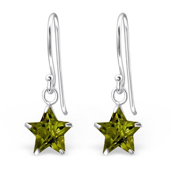 Montebello Oorbellen Ada Olive – Dames – 925 Zilver – Zirkonia – Ster - ∅8 mm – 23 mm-0