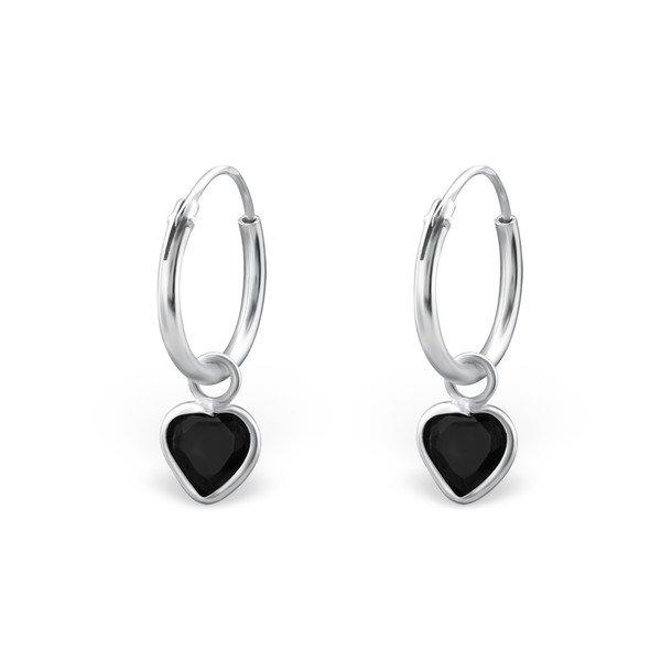 Montebello Oorbellen Adel Black - Dames - 925 Zilver - Zirkonia - Hart – Creolen - ∅10 mm-0