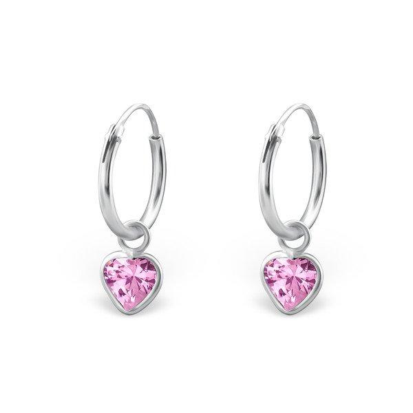 Montebello Oorbellen Adel Pink - Dames - 925 Zilver - Zirkonia - Hart – Creolen - ∅10 mm-0