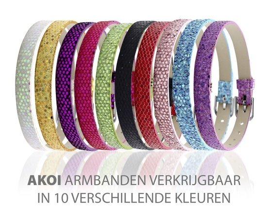 Montebello Armband Akoi BB - Dames - PU leer - Bedel - Hart - Zirkonia - 20.5 cm-10228