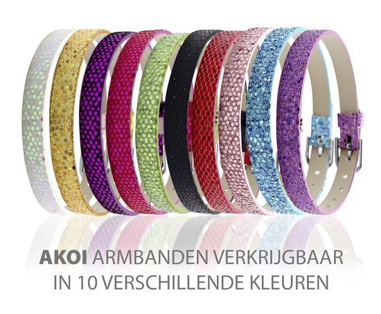 Montebello Armband Akoi GrB - Dames - PU leer - Bedel - Hart - Zirkonia - 20.5 cm-10242