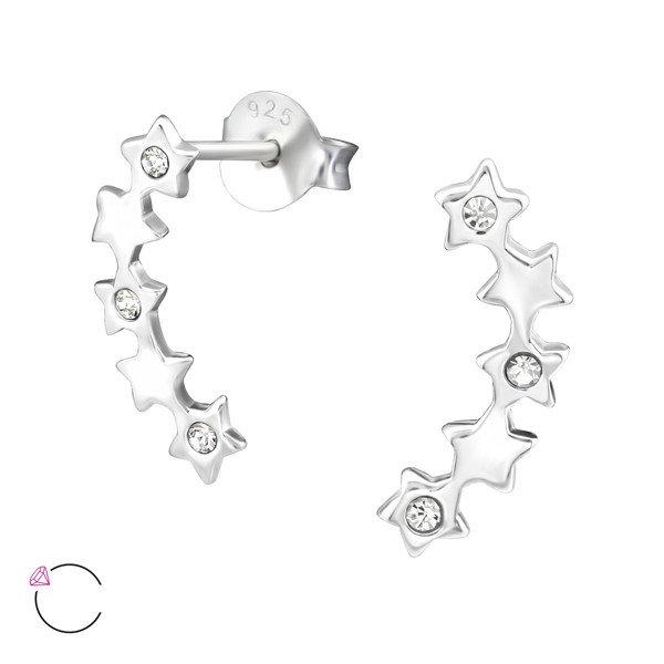 Montebello Oorbellen Aoki – Dames – 925 Zilver - Swarovski® Kristal – Ster – 3 x 14 mm-0