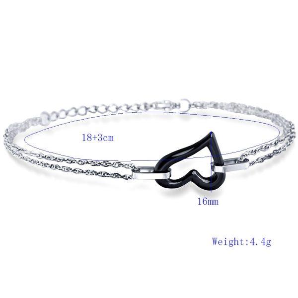 Montebello Armband Chanelle Black – Dames – 316L Staal – keramiek – Hart – 18 + 3 cm-10430