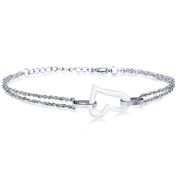 Montebello Armband Chanelle White – Dames – 316L Staal – keramiek – Hart – 18 + 3 cm-0